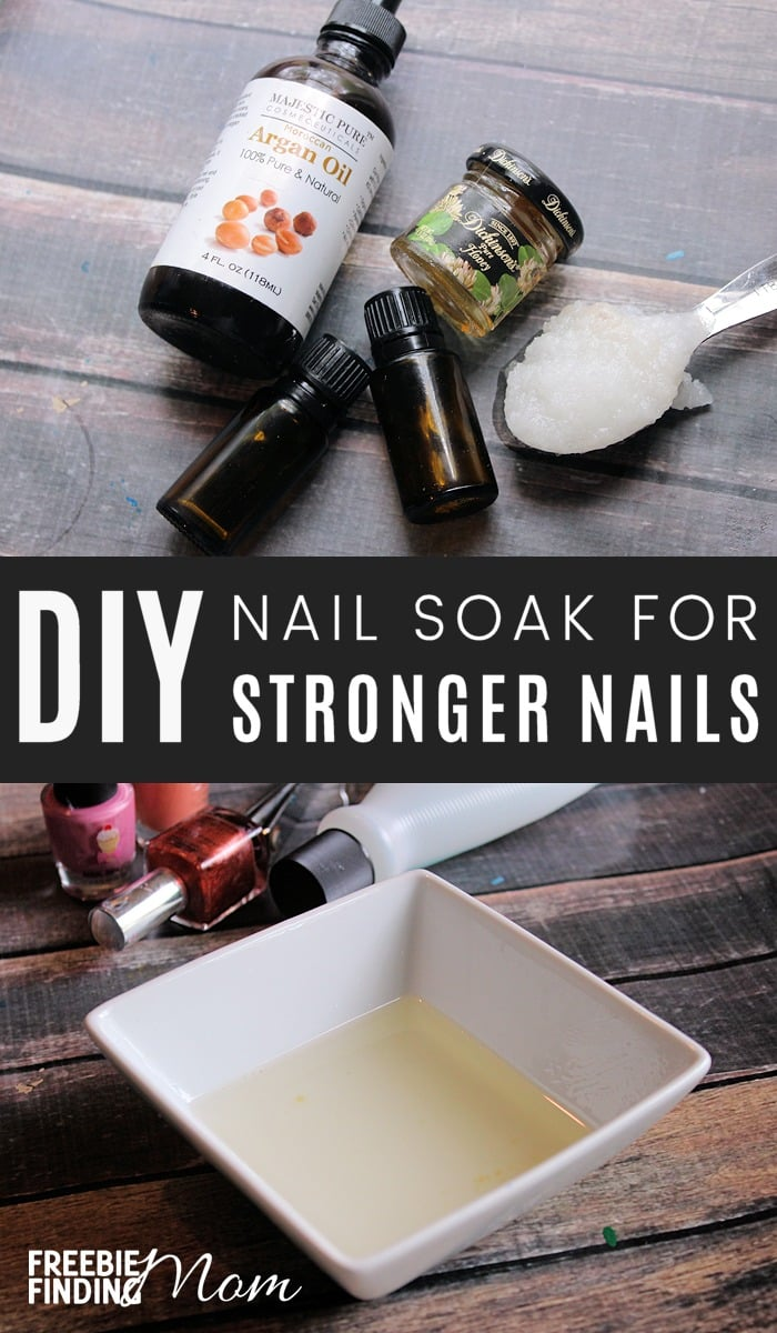 Are your nails thin, brittle or torn? Here you will learn how to strengthen your nails by using homemade nail soaks. You just need coconut oil, argan oil, honey and a couple of essential oils to create a powerful natural nail care recipe. #nails #manicure #beauty #diybeauty #homemadebeauty