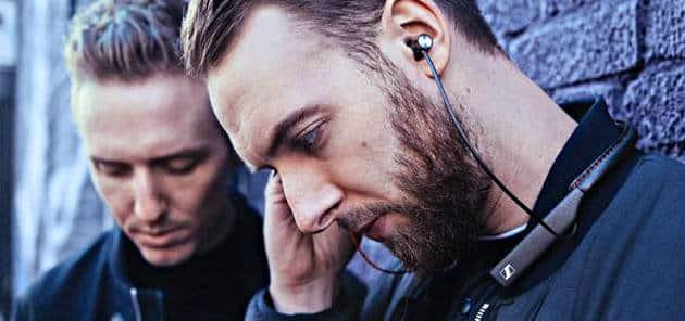 Sennheiser In-Ear Wireless headphones in use