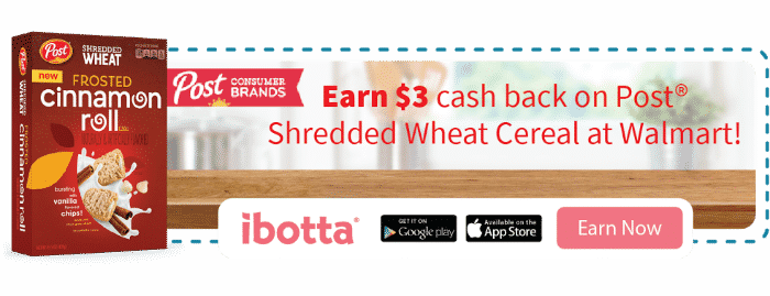 $3 cash back on ibotta with the purchase of Shredded Wheat Cereals