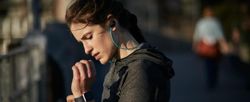 Bose SoundSport Wireless Headphones in use