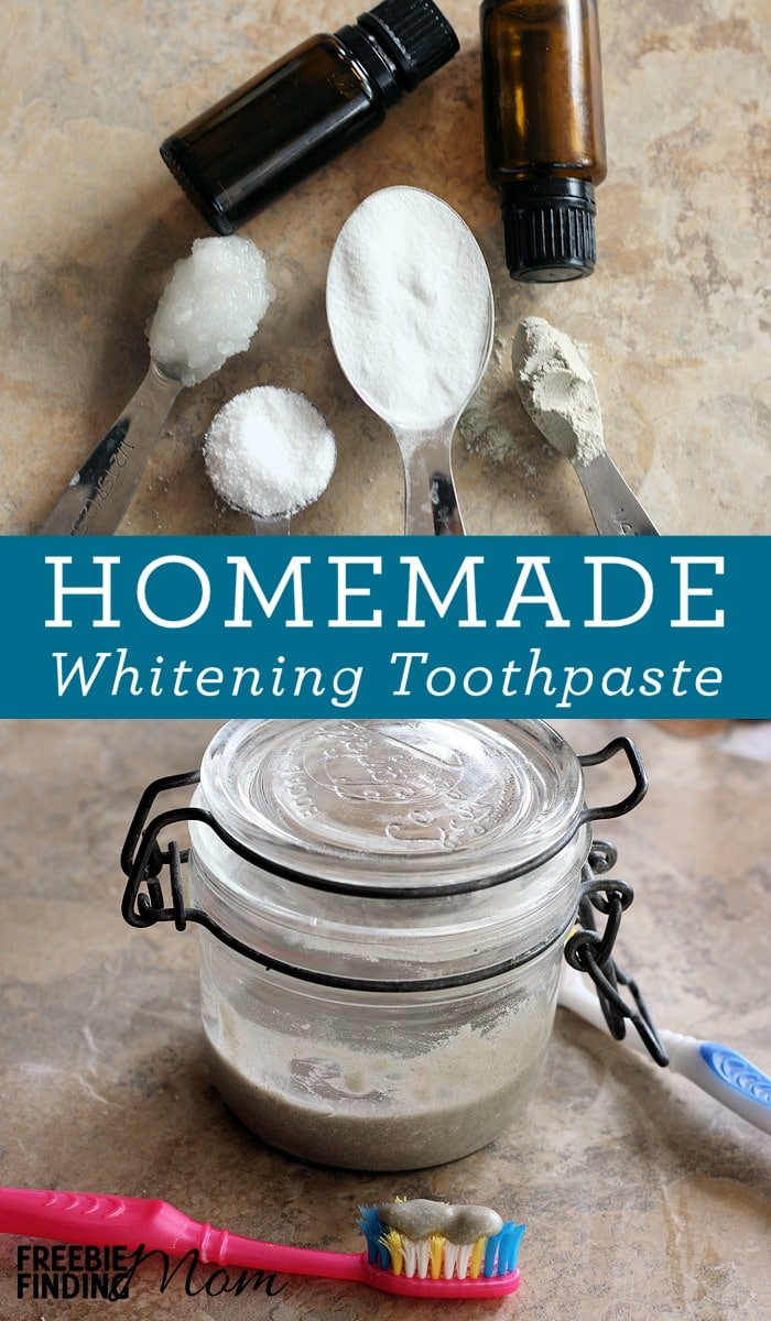 Would you like to whiten your teeth but without using harmful chemicals? Simply follow this easy 2 step DIY Teeth Whitening Baking Soda Toothpaste recipe which includes mixing coconut oil, baking soda, bentonite clay and peppermint essential oil to create a powerful all-natural homemade whitening cream that will leave your teeth clean and polished and your breath fresh.