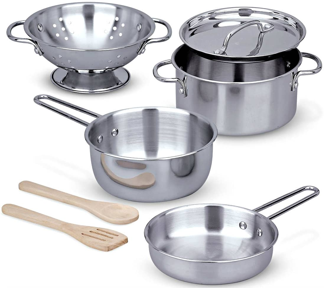8-Piece Melissa & Doug Stainless Steel Pots and Pans Pretend Play Kitchen Set