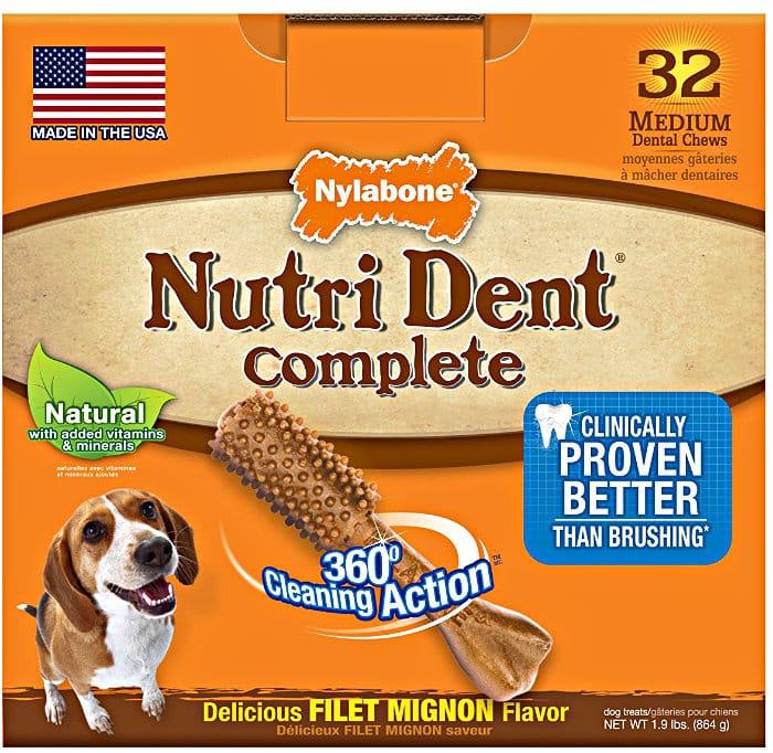 Nylabone Nutri Dent Complete Dog Treat Bones for Medium Dogs