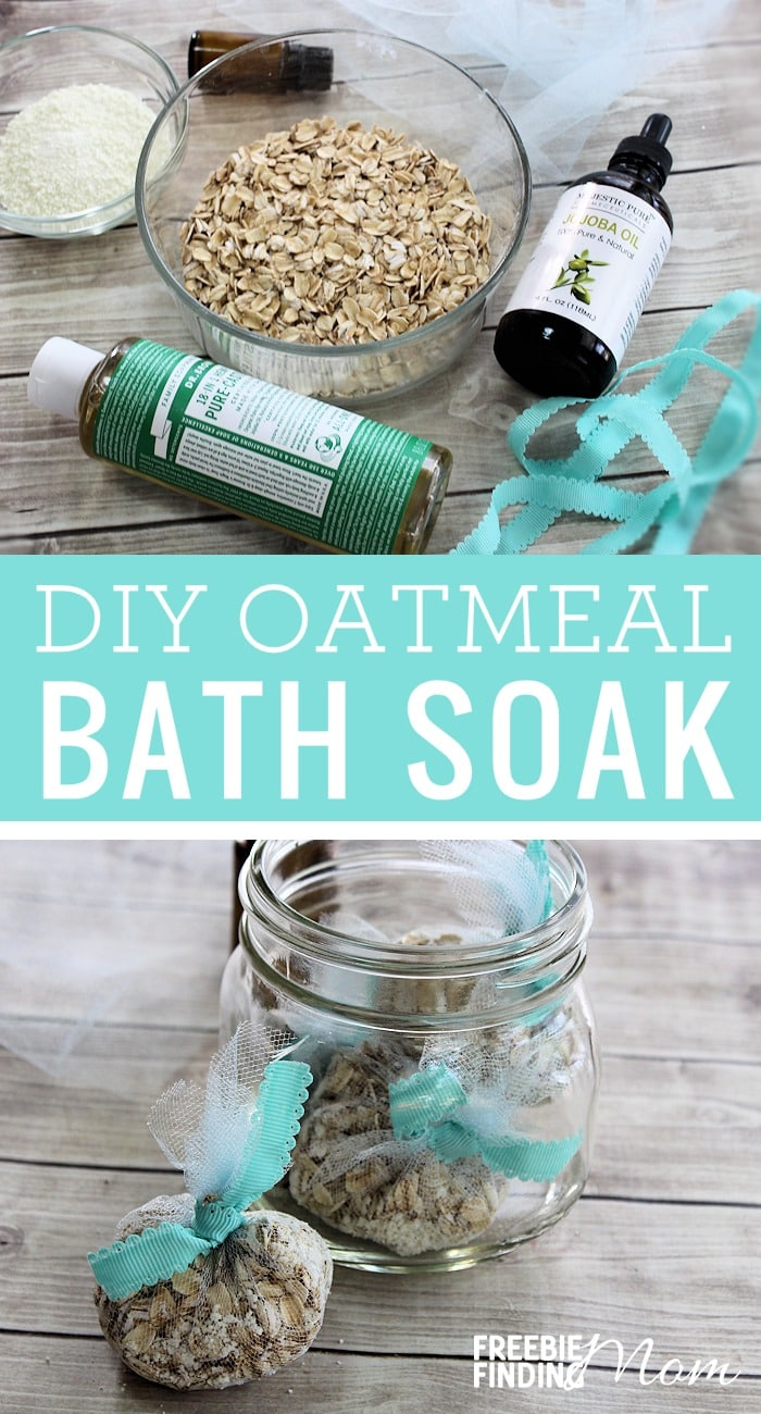 "Are you tired and stressed out and feel like you are long overdue for a little ""me-time""? Take a few minutes and whip up this DIY Oatmeal Bath Soak recipe. You'll need just five ingredients (oatmeal, powdered milk, Castile soap, jojoba oil and lavender essential oil) to make this easy homemade beauty recipe. Not only will this homemade oatmeal bath soak relax you and sooth your mind and body, but the oatmeal will also help heal your dry/itchy skin. #diy #oatmeal #bathsoak #homemadebeauty #diybeauty #relax #dryskin #lavender #essentialoils"