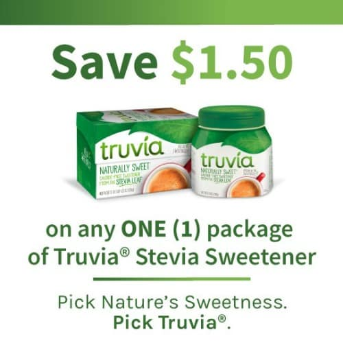 save $1.50 on any one package of Truvia® Natural Sweetener