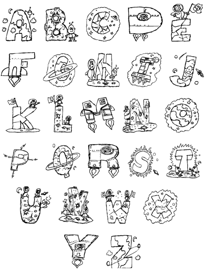 outer space letter alphabet printables