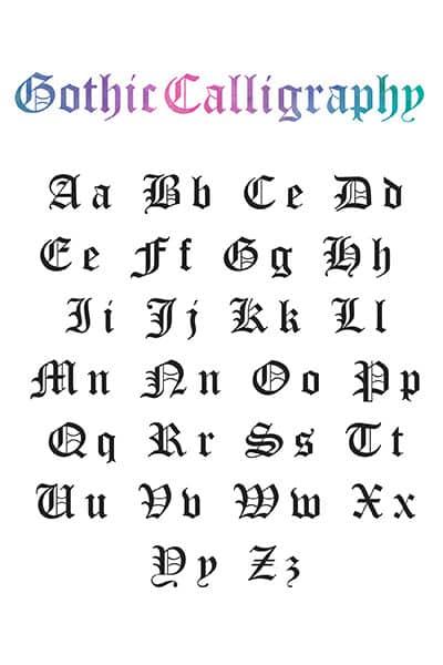 printable gothic calligraphy alphabet