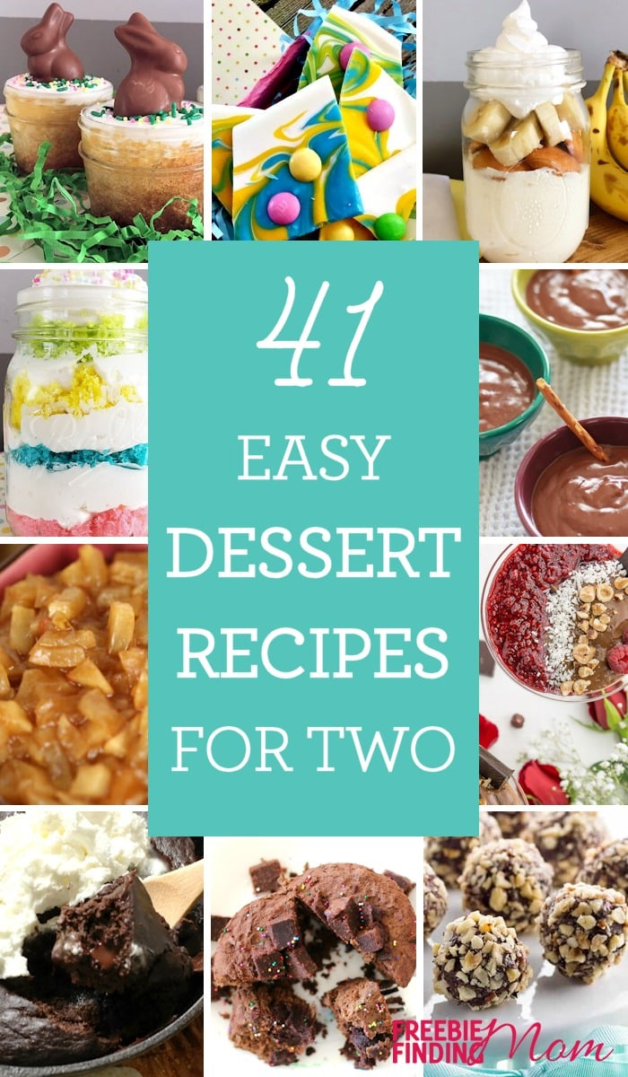 Need easy dessert recipes for two that will have your sweet tooth begging for more? Here you'll find a bounty of simple recipes for two that you can whip up in minutes including brownies, mug cakes, dips, puddings and more. #desserts #dessertrecipes #dessertseasy #dessertrecipeseasy