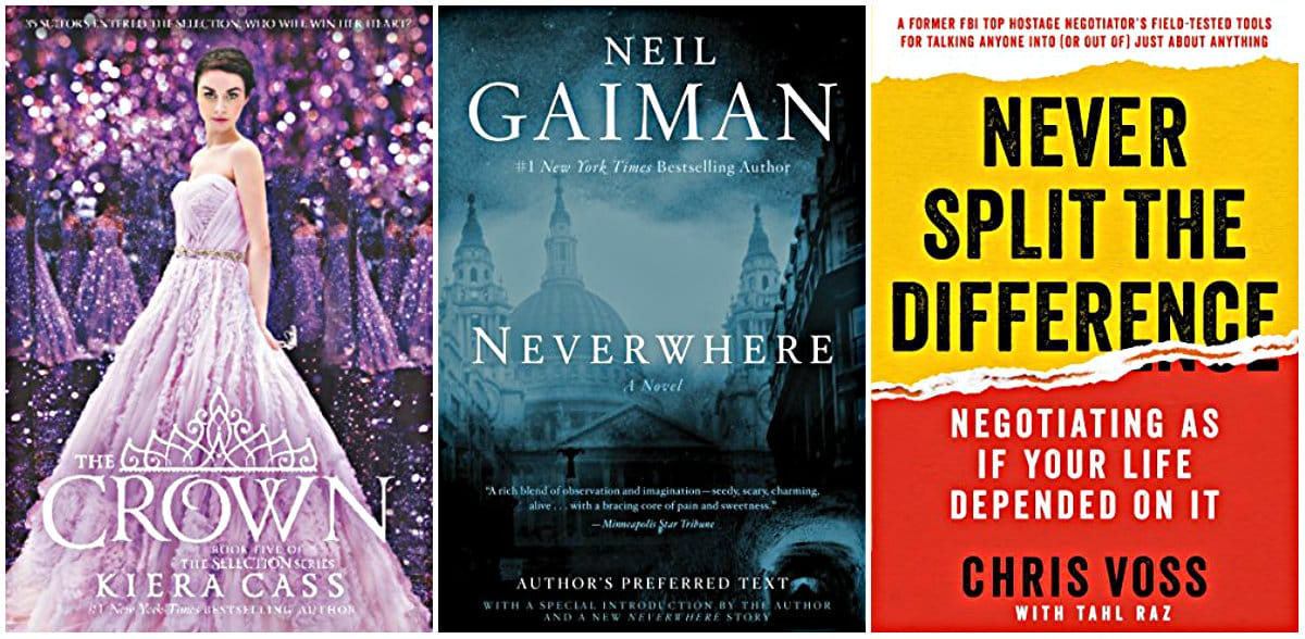 The Crown by Kiera Cass, Neverwhere by Neil Gaiman, Never Split the Difference: Negotiating As If Your Life Depended On It by Chris Voss