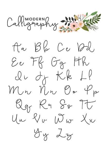 modern calligraphy alphabet printable