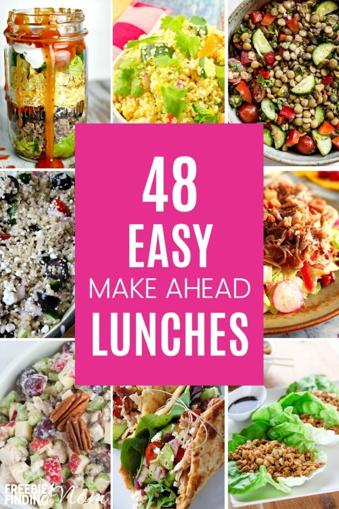 Do you need make ahead lunch ideas that will help you eat healthier and save money? Here you'll find easy and delicious salads, wraps, soups and more that will have your taste buds satisfied and keep your waistline in check. #makeaheadmeals #makeaheaddinners #lunchideas #lunchmealprep #lunchideaswork