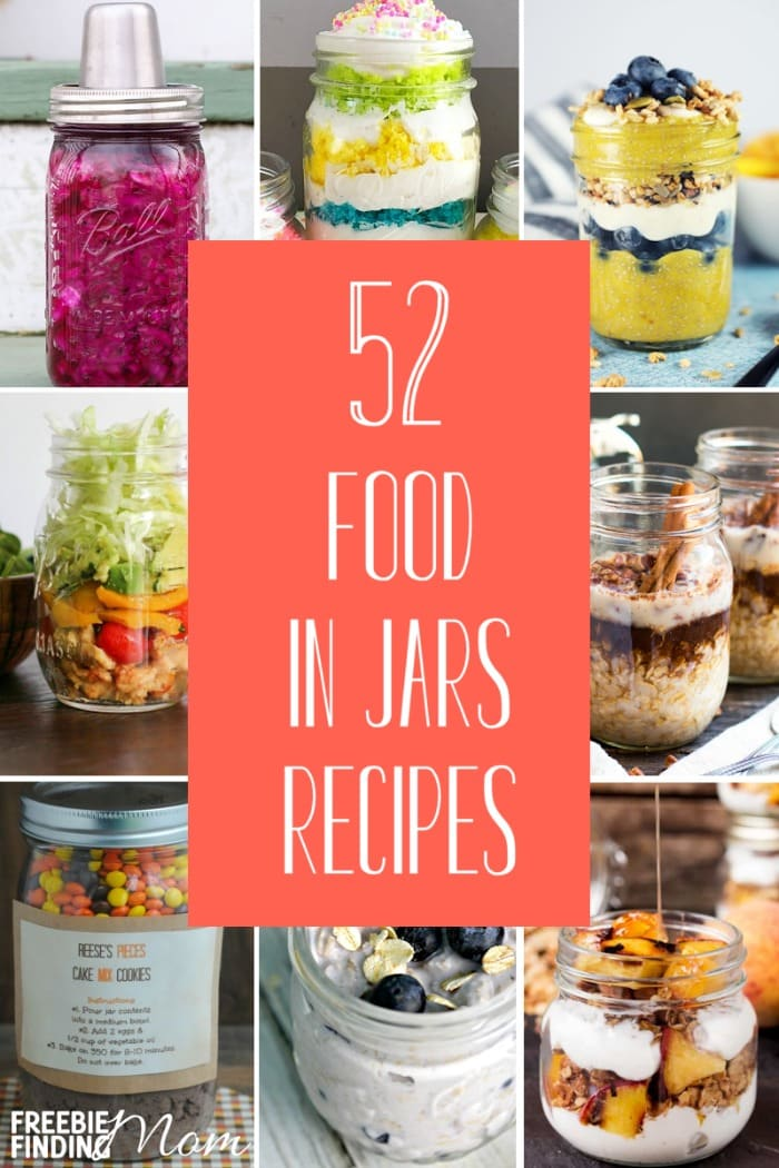 Calling all Mason jar lovers! Here you'll find 52 Food in Jars Recipes for Mason jar salads, soups, breakfasts, desserts and more! Be inspired by these Mason jar ideas to make quick, easy and convenient Mason jar meals in minutes. #masonjarideas #masonjarsalad #masonjarmeals #masonjarbreakfast