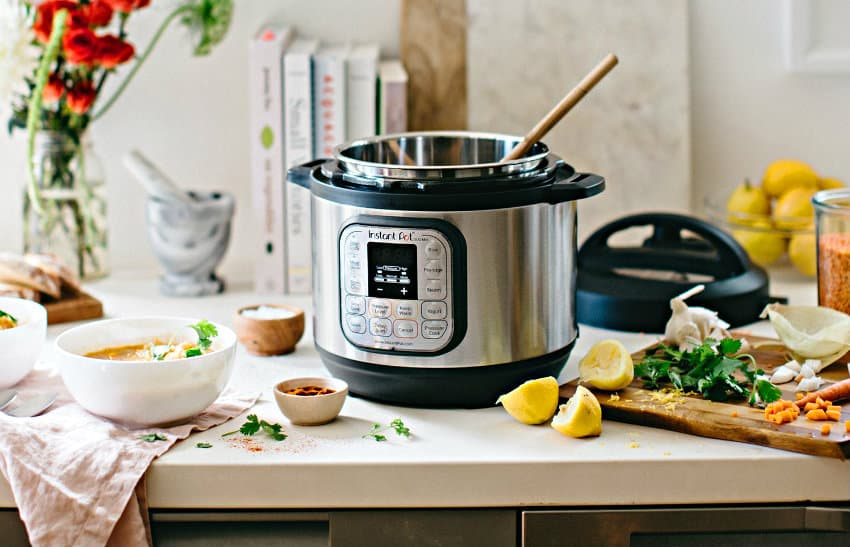 Instant Pot 7-in-1 Programmable Pressure Cooker in use