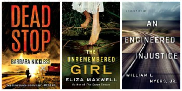 Kindle book covers Dead Stop, The Unremembered Girl and An Engineered Injustice