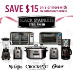 Save $15 on Two or More Black Stainless Steel Suite Kitchen Appliance Items (Oster®, Crock-Pot®and Mr. Coffee®)