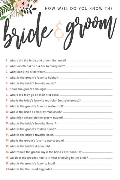bridal shower discovery game free printable