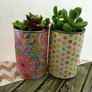Decoupage Tin Can Planters