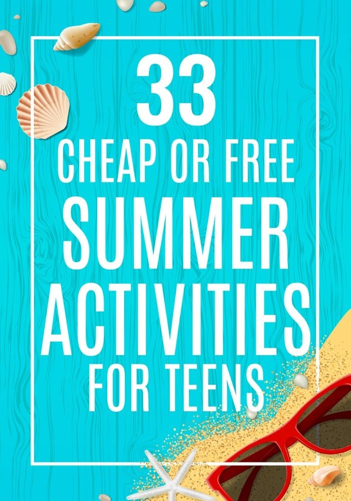 "Do you need cheap or free summer activities for teens? Hopefully this list of 33 summer activities for kids will keep you from hearing ""I'm bored"" all summer long. Here you'll find summer programs for kids that are educational, high tech, creative, active, reading based, and more along with ways kids can make money this summer. #summeractivitiesforkids #summerbucketlist #summer #summerprogramsforkids"