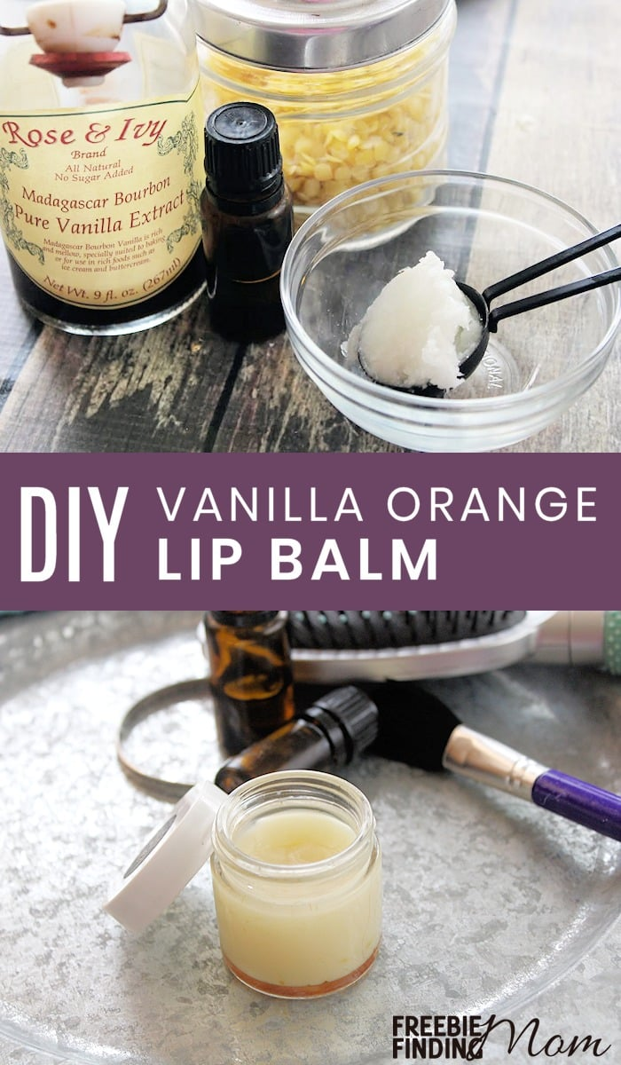 Are your lips dry and chapped? There's no need to rush to the store to buy a lip moisturizer when you can whip up this recipe for homemade lip balm in minutes and with only a handful of ingredients which don't include harmful artificial chemicals. Not only will this DIY Vanilla Orange Lip Balm moisturize your lips, but it will also fight the signs of aging and protect against skin damage and UV rays. #homemadelipbalm #diylipbalm #diylipscrub #homemadelipscrub