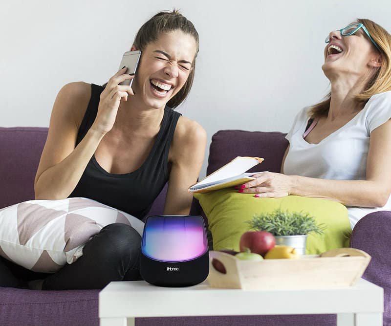 iHome iAV5 Color Changing Bluetooth Rechargeable Speaker in use