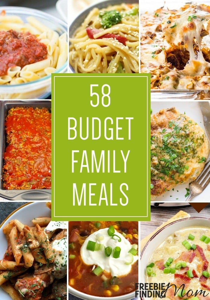 Do you have a big family but a small budget? No problem! Here are 58 Budget Family Meals that your family will love. You'll find chicken, beef, turkey, pork, tuna, and vegetarian recipes that are easy to make and packed with flavor. Whether you are looking for crockpot recipes or Instant pot recipes we've got you covered with these cheap dinner meals. #budgetmeals #cheapmeals #cheapdinners #cheapmealsonabudget