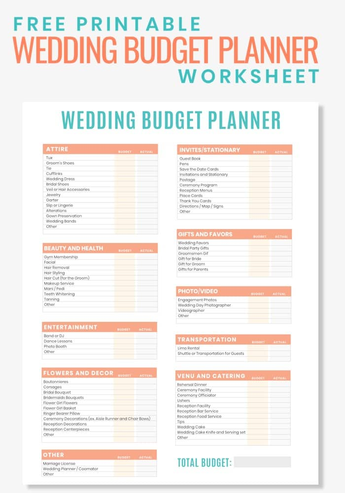 Are you planning a wedding on a budget? Then grab this Free Printable Wedding Budget Planner Worksheet to help you stay organized and to keep you from overspending. Here you can easily record expenses for everything from your wedding décor, dress, rings, centerpieces, invitations and more. #budgetprintables #budgetwedding #budgetplanner #printableweddingplanner