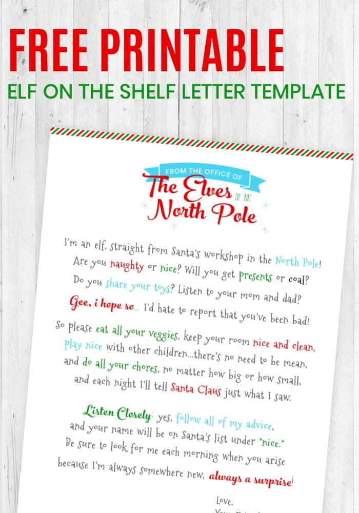 picture regarding Elf on the Shelf Letter Printable called Absolutely free Printable Elf upon the Shelf Letter Template