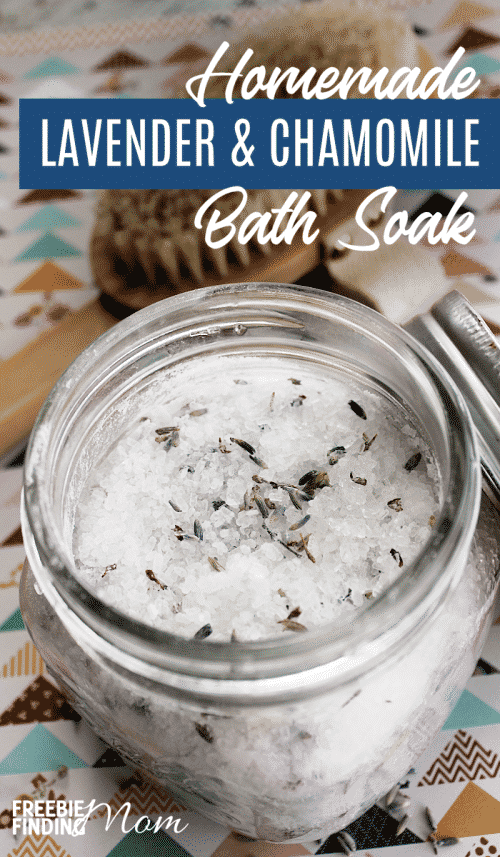 Are you in need of a relaxing soak in the tub? It takes only a few minutes to whip up this all-natural Homemade Lavender and Chamomile Bath Soak, so go ahead and unwind by drawing a warm bath then sprinkling in this homemade epsom salt soak recipe. Then lay back and relax. #homemadebathsoakrecipes #homemadebathsoaksimple #homemadebathsoaksdiy #homemadeepsomsaltsoak