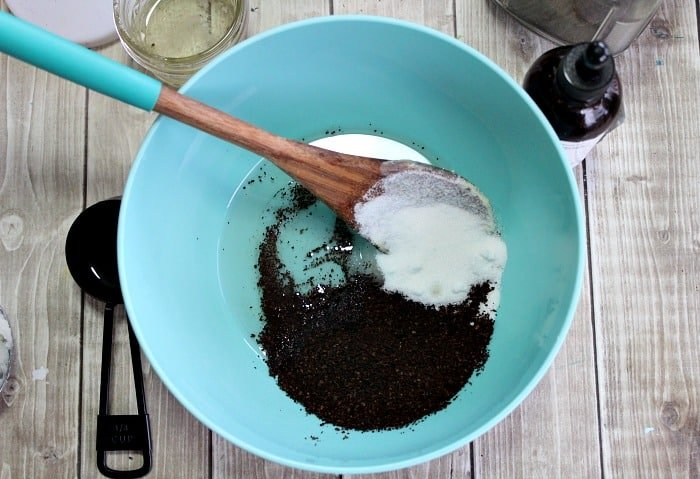 mixing ingredients for homemade face scrubs