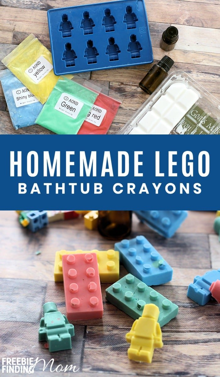 Do your kids like bath time? Whether they love or loathe bath time this homemade soap crayons recipe is sure to ramp up the fun! You need just four ingredients to make these DIY LEGO Bathtub Crayons. Feel free to change the silicone mold to whatever shape your kids will like and play with different essential oils and colors too. #homemadesoaprecipes #homemadesoaprecipesforbeginners #homemadesoapwithessentialoils #homemadesoapeasy