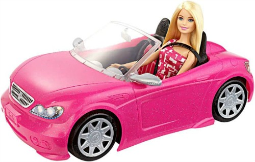 Barbie in a car