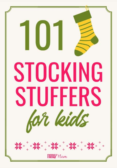 Santa can stuff the kids' stockings on the cheap with these fun yet frugal 101 Cheap Stocking Stuffers for Kids. You'll find ideas for boys and girls of all ages from 0 to teens and most items are under $10 which makes it easy on Santa's wallet too. #stockingstuffersforkids #stockingstuffersforteens #stockingstuffersfortoddlers #stockingstuffersforkidsboys