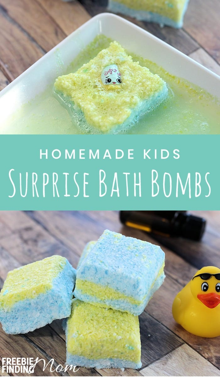 Is bath time a battle at your home? Then whip up this homemade bath bomb recipe and the kids will be begging for a bath! Have fun adding different toys and essential oils to this DIY Kids Surprise Bath Bombs recipe. #diybathproducts #diybathsoak #homemadebathproducts #homemadebathsoak