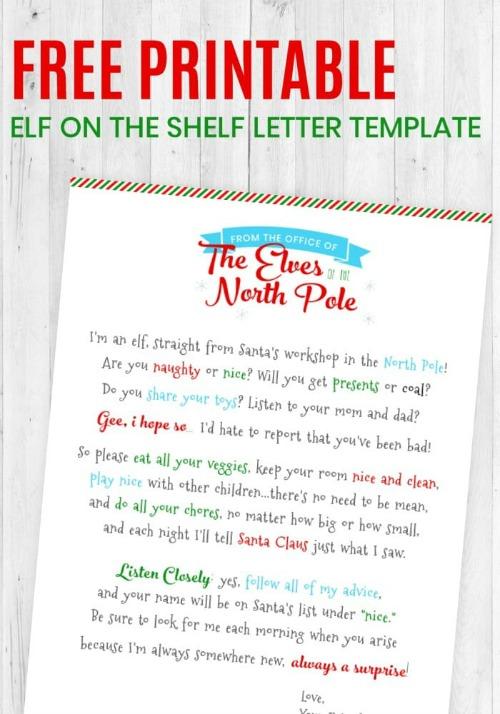 Elf on the Shelf letter printable