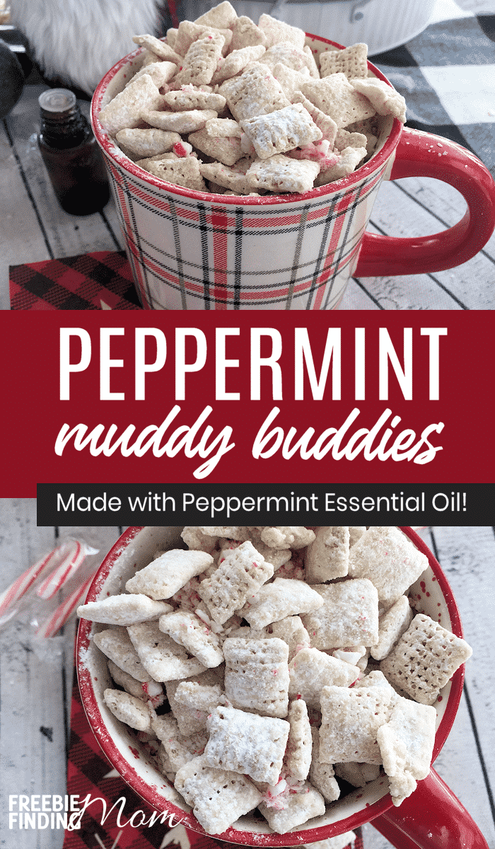If you are a fan of muddy buddy snack mix then you are going to love this Christmas inspired version! Instead of using peanut butter and chocolate you will use white almond bark and peppermint essential oil to make this recipe for muddy buddies. Then top off this sweet treat with crushed peppermint and you've got a perfect snack mix to serve at a holiday party or to give away in a Mason jar. #muddybuddiesrecipe #muddybuddieschristmas #puppychowchexmixrecipe #puppychowchristmas
