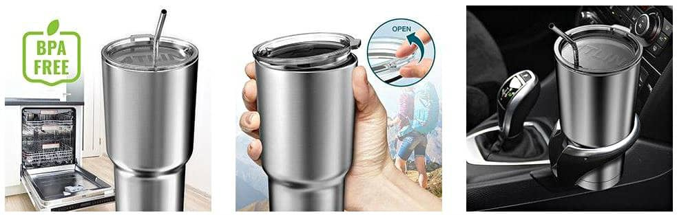 Atlin Double Wall Stainless Steel Tumbler in use
