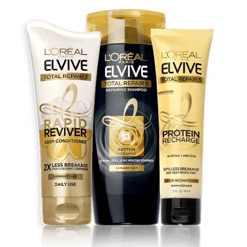 Elvive Shampoo, Conditioner and Leave-in Conditioner