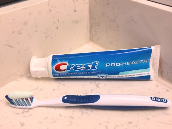 Crest toothpaste in the bathroom