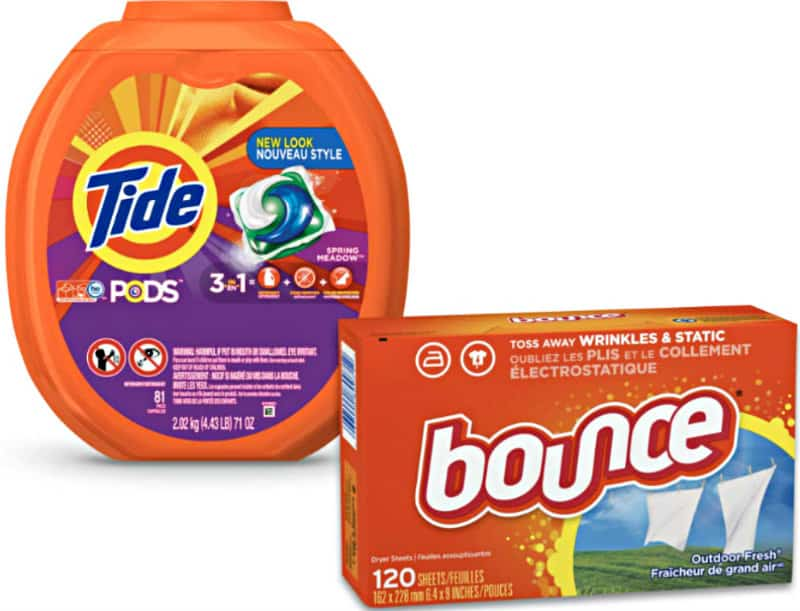 Tide PODS and Bounce dryer sheets