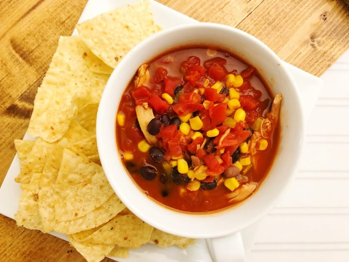 Mexican chicken chili recipe with tortilla chips