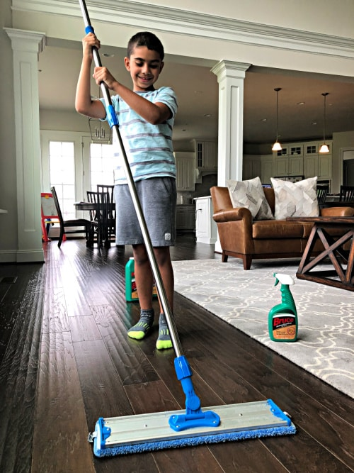 Ian mopping the floor