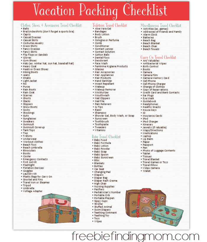 Free Printable Vacation Packing List From Freebie Finding Mom