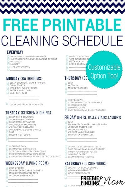 Free Printable Cleaning Schedule Freebie Finding Mom