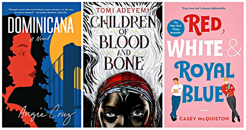 Kindle books Dominicana, Children of Blood and Bone, and Red, White & Royal Blue