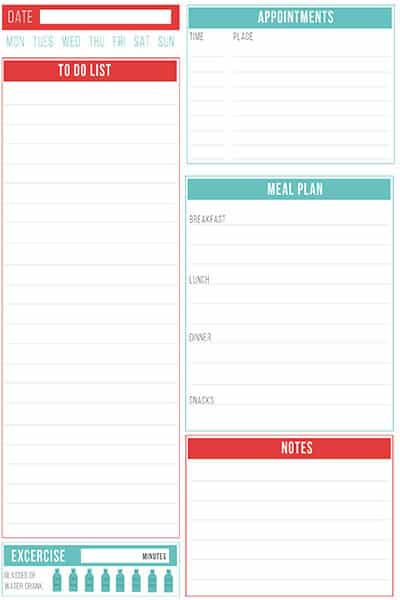 daily planner printable