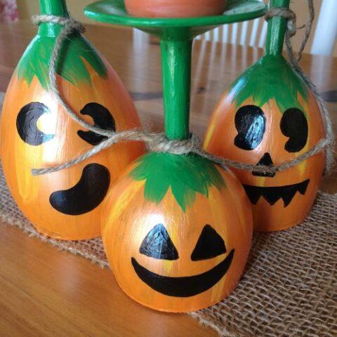 DIY Pumpkin Wine Glasses