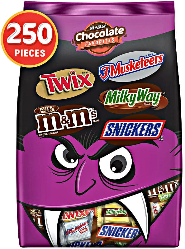 SNICKERS, TWIX, MILKY WAY, 3 MUSKETEERS & Milk Chocolate M&M'S Halloween Candy Bars Variety Mix