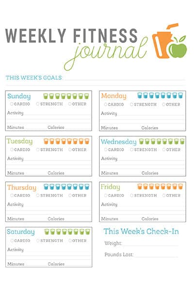 fitness journal printable