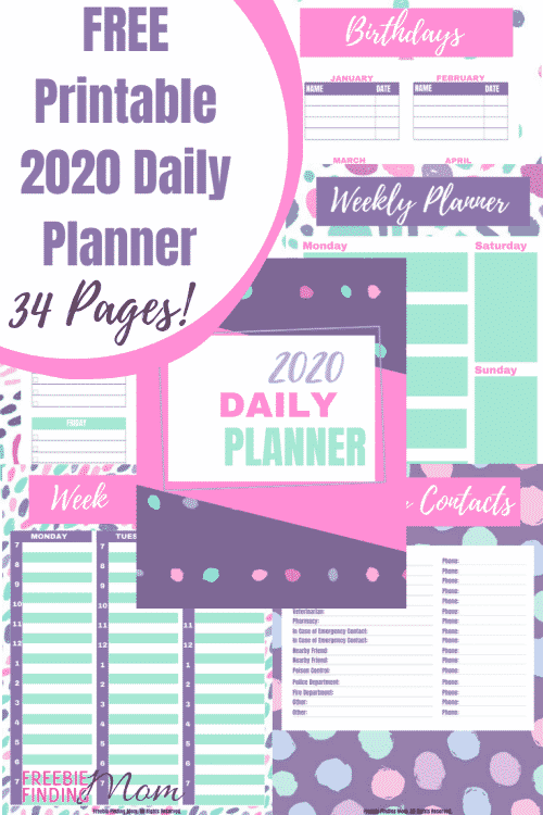 Do you want organizing ideas so you can start the year 2020 off right? Download these Free Printable 2020 Daily Planner Pages! This bundle of 34 pages includes a daily planner sheet, a daily to do list planner, weekly planners, pages for contact information, important dates, birthdays, anniversaries, 12 monthly calendars and more! #printablecalendar #freeprintables #freeprintablecalendar #printabledailyplannerpages