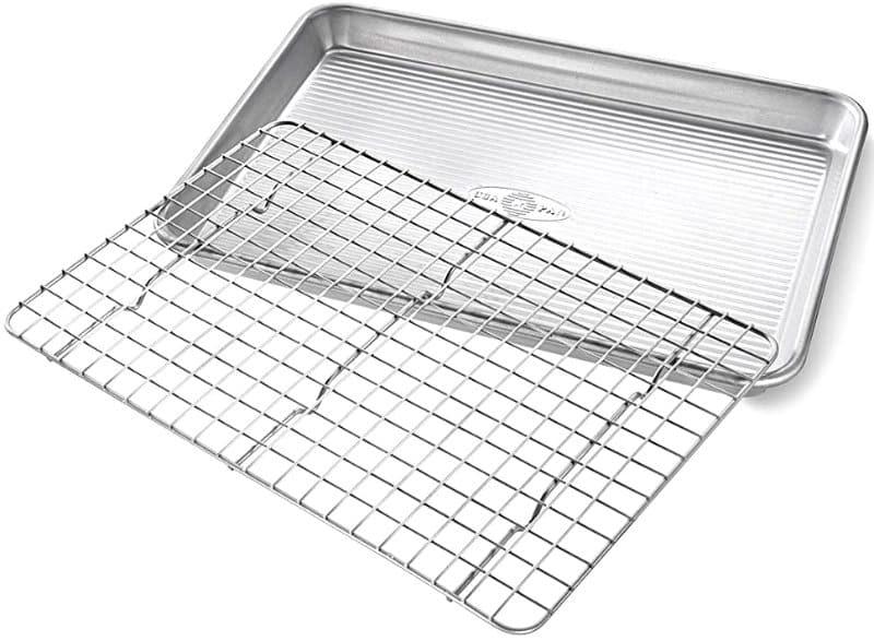 USA Pan Quarter Sheet Baking Pan and Bakeable Nonstick Cooling Rack